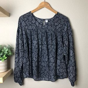 NWT OLD NAVY BLACK w WHITE LONG SLEEVE TOP sz S ✨